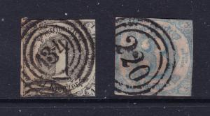 Thurn & Taxis (Germany) x 2 used imperf earlies