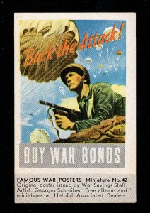 VINTAGE WWII ART POSTER MINIATURE NO. 42 BACK THE ATTACK! - BUY WAR BONDS