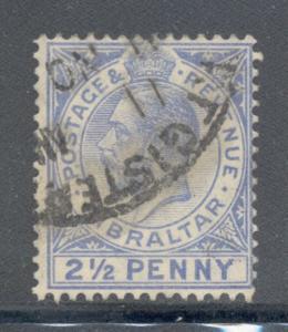 Gibraltar Sc 80 1921 2 1/2d George V stamp used