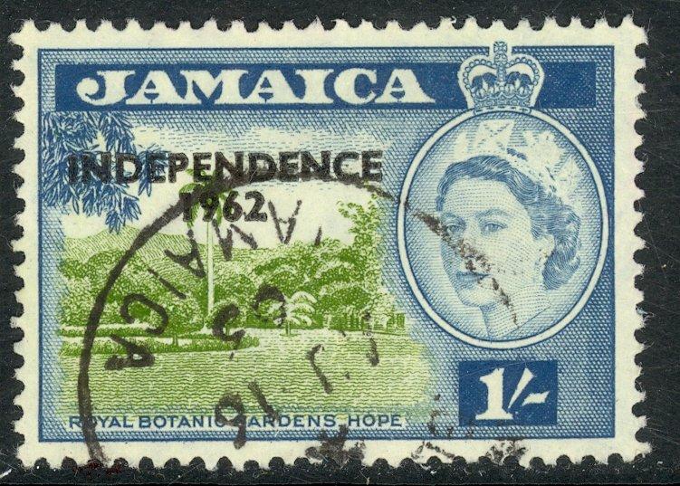 JAMAICA 1962 1sh INDEPENDENCE OVERPRINT Issue Sc 192 VFU
