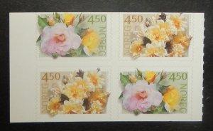 Norway 1272-73. 2001 Rose Varieties, booklet pane of four, NH