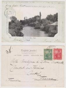ARGENTINA 1903 PPC TIGRE RIO LAS CONCHAS Sc 123 & 127 TO CANTAL, FRANCE F,VF