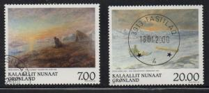 Greenland Sc 349-0 1999 Rosing Paintings stamp set used