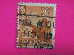 TANGANYIKA, 1961, East Africa, used 20c. brown, Independence. Inscr ?UHURU 19...