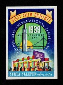POSTER STAMP SAN FRANCISCO GOLDEN GATE EXPO SERTA SLEEPER 1939 MNH-OG