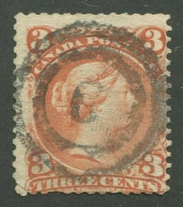 CANADA #25 USED LARGE QUEEN 2-RING NUMERAL CANCEL 6