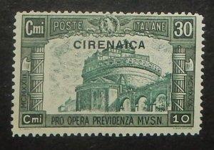 Cyrenaica B25. 1930 30c+10c Dark green and blue green
