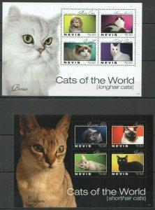 Nevis 2011 domestic animals cats 2 klb MNH