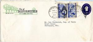 U.S. Scott 1010 (2) on Scott U534 Stamped Envelope Paying Triple 1st Class Rate