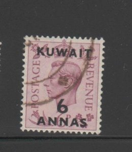 KUWAIT #78  1948  6a on 6p KING GEORGE VI SURCHARGED   F-VF  USED  f