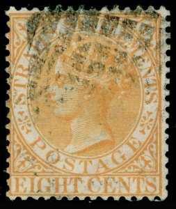MALAYSIA - Straits Settlements SG14, 8c orange-yellow, USED. Cat £19. WMK CC