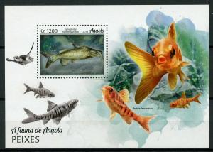 Angola 2018 MNH Fishes Grea Sea Turtle 1v M/S Turtles Fish Marine Stamps