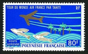 Fr Polynesia C96,lightly hinged.Michel 165. World Tour via Tahiti.Flying fish.