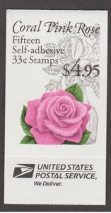 U.S. Scott #3052a-3052c BK242B Coral Pink Rose Stamp - Mint NH Booklet