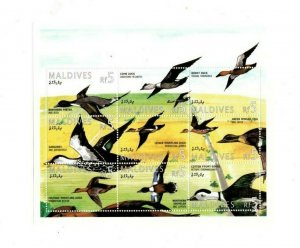 Maldives MNH S/S 9505 Ducks Birds 9 Stamps