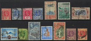 Ceylon Perfin Lot of 14 different die and face issues, F-VF