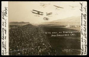 USA 1911 San Francisco Bird Men Eldridge Field Air Show RPPC 2c Washington 89058