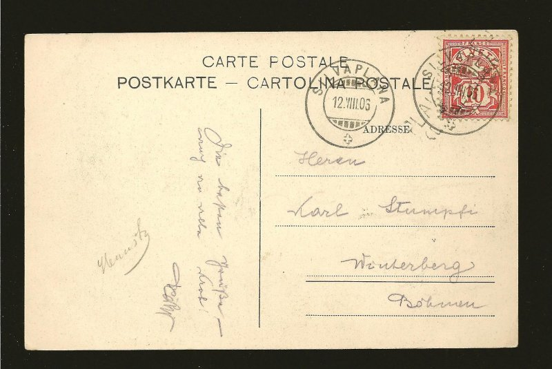 Switzerland 116 on PM Silvaplana 1906 Postcard Used