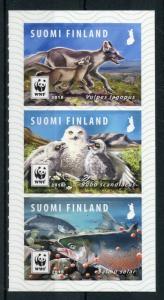 Finland 2018 MNH Endangered Animals II WWF Owl 3v S/A Set Foxes Owls Birds Stamp