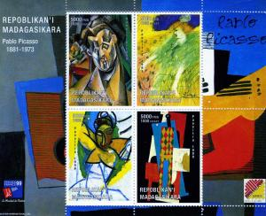 Malagasy 1999 Pablo PICASSO PAINTINGS Sheet (4) Perforated Mint (NH)