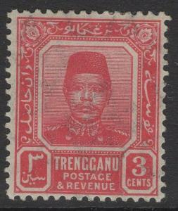 MALAYA TRENGGANU SG3 1910 3c CARMINE-RED MTD MINT