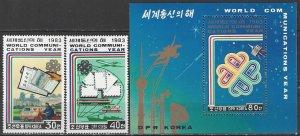 North Korea  2330-1, 2333  MNH  World Communications Year