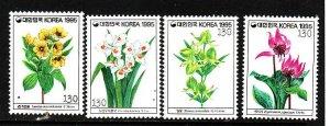 Korea-Sc#1759-62-unused NH set-Flowers-Flora-1995-