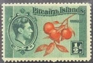 Pitcairn Isl.   1 Mint OG 1940 1/2p KGVI Definitive