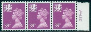 GREAT BRITAIN WALES SG-W69, SCOTT WMMH-57 STRIP 0F 3, MINT, OG, NH, GREAT PRICE!
