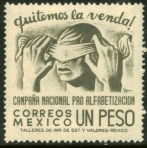 MEXICO 809, $1Peso Blindfold, Literacy Campaign UNUSED, H OG. F-VF.