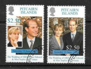 PITCAIRN ISLANDS SG553/4 1999 ROYAL WEDDING FINE USED
