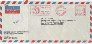 Pakistan 1973 We Pack with Care Slogan Airmail Meter Mail Stamps Cover Ref 29334