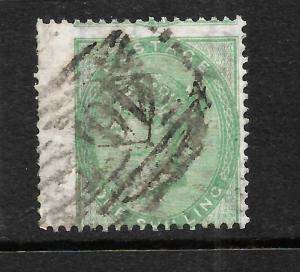 GREAT BRITAIN  1855-57  1/-  PALE  GREEN  QV  AZURE PAPER  FU    SG 73a