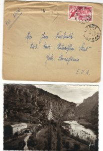 France NY 1945 50fr Stamp Cover with RPPC Gorges du Tarn Corresponded in French