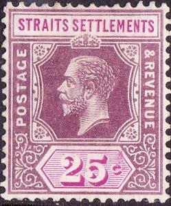 MALAYA STRAITS SETTLEMENTS 1914KGV 25Cents Dull Purple & Mauve Die ISG2...