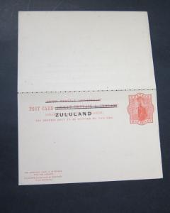 Zululand 1893 overprint Postcard double (Higgins & Gage #4 ) - SCARCE