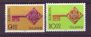 J22120 Jlstamps 1968 iceland mh set #395-6 europa