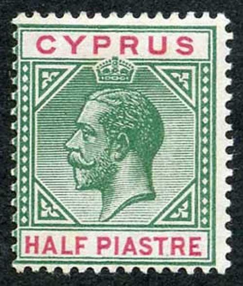 Cyprus SG75a 1/2pi Green and Carmine Variety BROKEN BOTTOM LEFT TRIANGLE m/mint