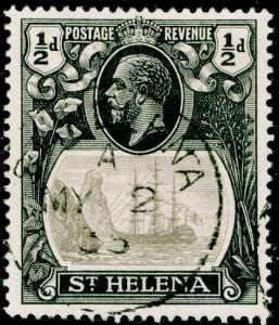 ST. HELENA SG97a, ½d grey & black, VERY FINE USED CDS. Cat £120. BROKEN MAINMAST