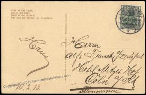 Germany 1913 Helgoland Ships to Koeln 5pf Germania Stamp Cover 70983
