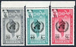 Bahrain 157-159,MNH.Michel 165-167. WHO,20th Ann.1968.Map.