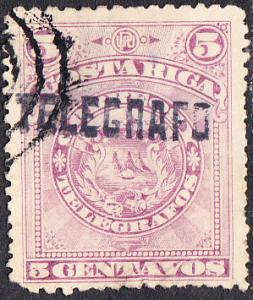 Costa Rica Telegraph - Hiscock #1 Used