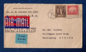 US Sc #567 and Sc #883 On A Cover to Sweden F-VF