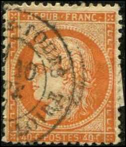 France SC# 59b Ceres 40c Type II CREASED, HR Paris cancel Used SCV $130.00