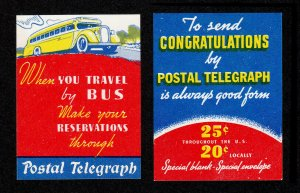 POSTER STAMP STICKER POSTAL TELEGRAPH CO. - WESTERN UNION RIVAL (LOT OF 2) MNH