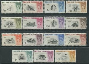 Falkland Islands QEII 1960 Birds complete set to £1 mint o.g.