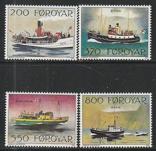 1992 Faroe Islands - Sc 232-5 - MNH VF - 4 single - Mail Boats
