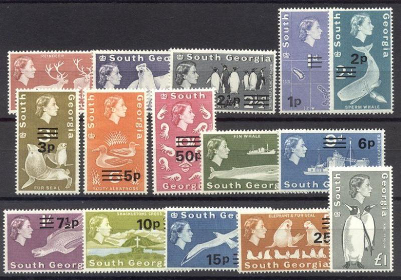 SOUTH GEORGIA #16-30 Mint NH - 1963-71 QE II Pictorials