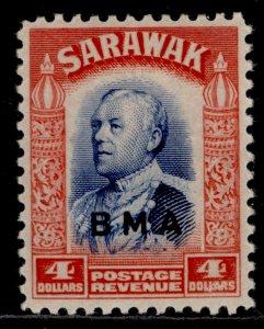 SARAWAK GVI SG143, $4 blue & scarlet, NH MINT. Cat £45.