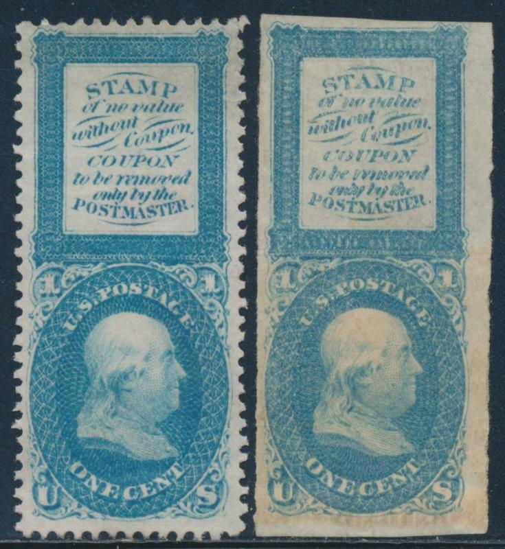 #63-E13b & #E13g BLUE DIE ON WHITE GLAZED PAPER PERF & COUPON STAMPS HV7458